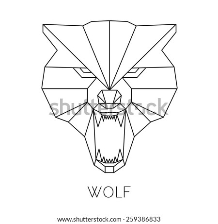 Wolf head geometric style. vector print on t-shirt - stock vector