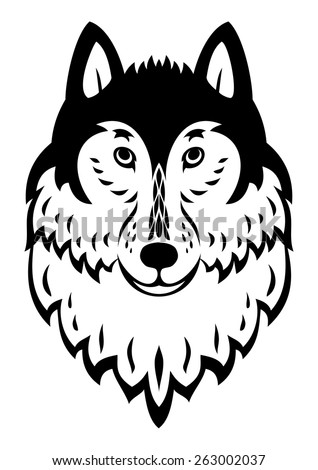 Wolf head mascot tribal emblem vector logo - stock vector