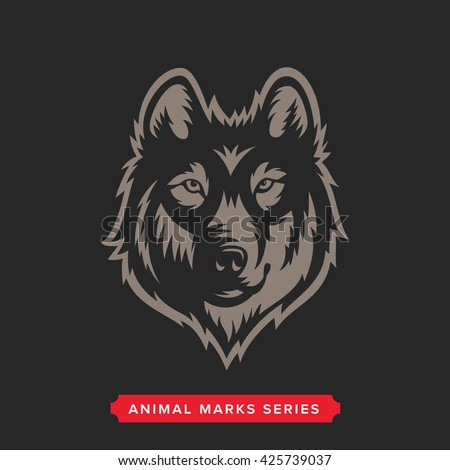 Wolf Head Symbol. Great for Badge Label Sign Icon Logo Design. Quality Wolf Emblem. Premium Retro Style Drawing. Hand crafted Vector illustration. Authentic Vintage Graphics. - stock vector