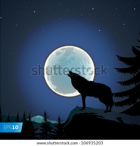 Wolf howling at the full moon, vector Eps10 image - stock vector