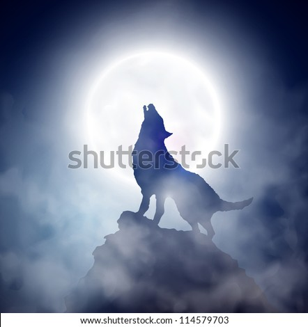 Wolf howling at the moon. Eps 10 - stock vector