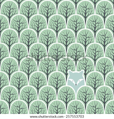 Wolf in a forest seamless pattern. Vector design background. - stock vector