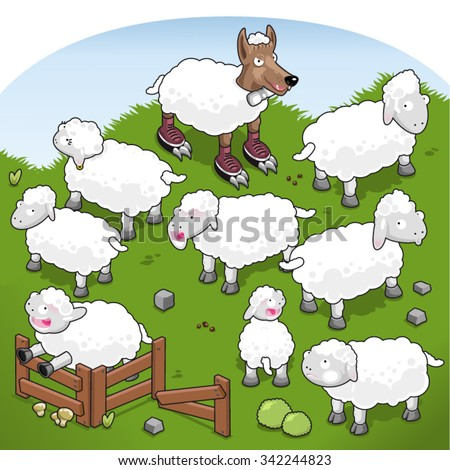 Wolf in sheep's clothing disturbing a flock of sheep (isometric view)  - stock vector