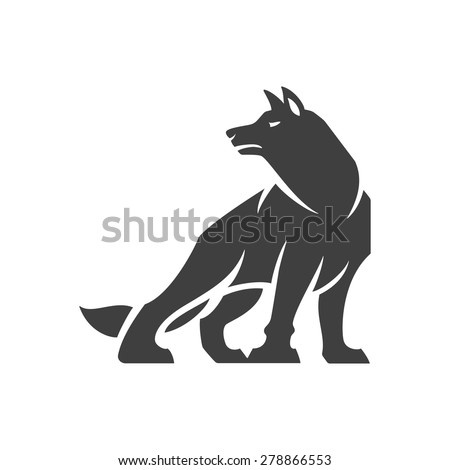 Wolf logo emblem template mascot symbol for business or shirt design. Vector Vintage Design Element. - stock vector