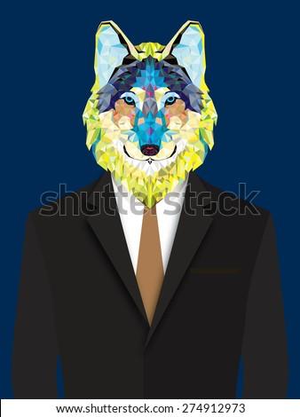 Wolf  man geometric style - stock vector