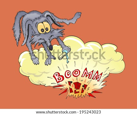 wolf pushing bomb - stock vector