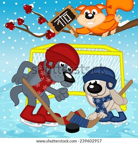 wolf rabbit play hockey - vector illustration, eps - stock vector