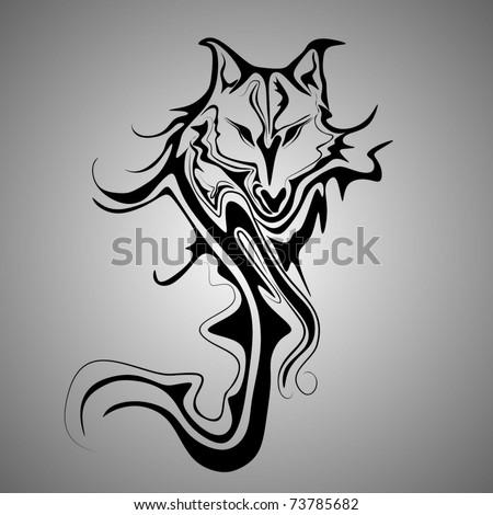 wolf tribal tattoo - stock vector