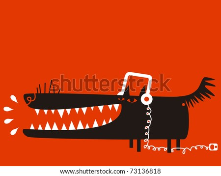 Wolf with headphones listens to music - stock vector