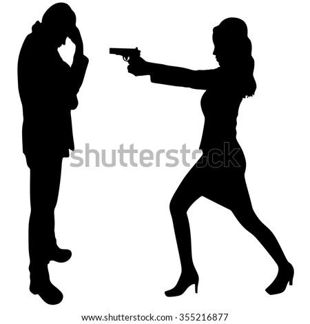 woman aiming gun - stock vector