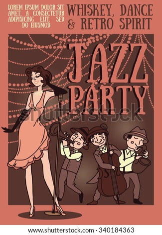 woman and band singing jazz music, retro party poster, vector illustration - stock vector