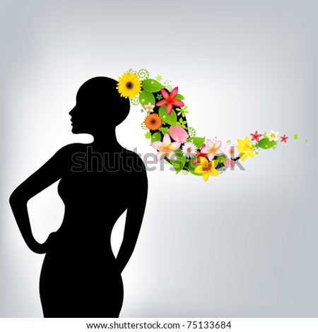 Woman And Flowers, Vector Illustration - stock vector