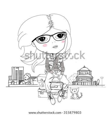 Woman and her cat ready for vacation, vector illustration - stock vector