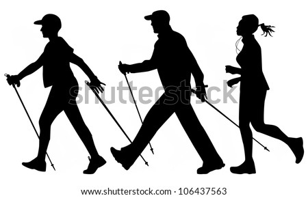 Woman and man are practicing Nordic walking and jogging - stock vector