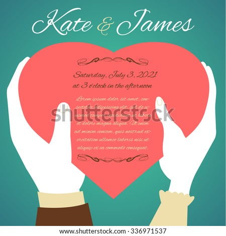 Woman and man hands with heart, symbol of love, on green background, wedding invitation card, vector image, eps10 - stock vector