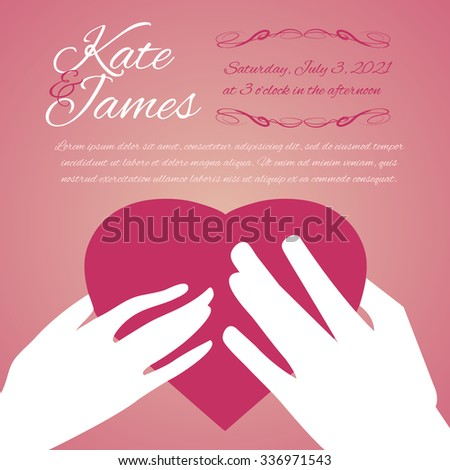 Woman and man hands with heart, symbol of love, on pink background, wedding invitation card, vector image, eps10 - stock vector