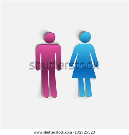 Woman and man icons - stock vector