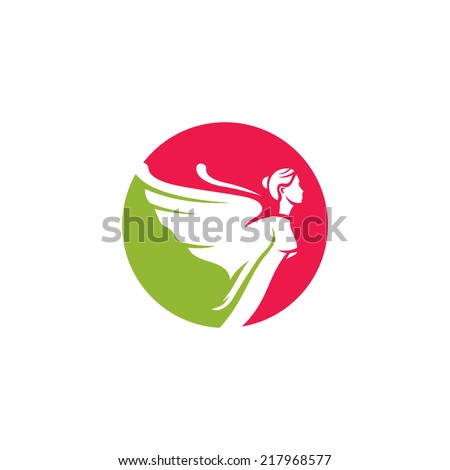 Woman angel abstract sign Branding Identity Corporate vector logo design template Isolated on a white background - stock vector