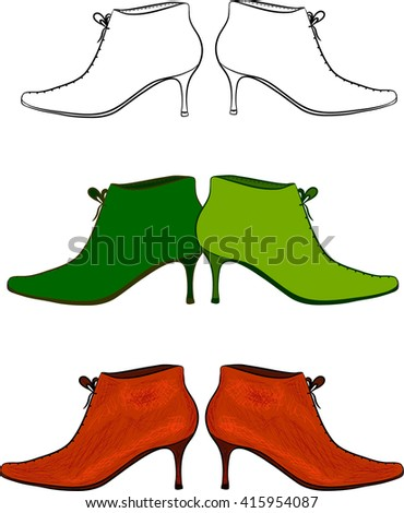 Woman ankle boots drawn in different styles. Vector set.  - stock vector