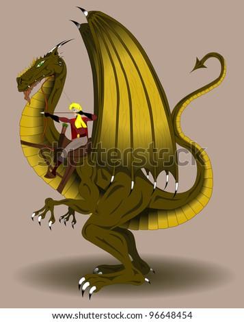 woman archer riding a dragon - stock vector