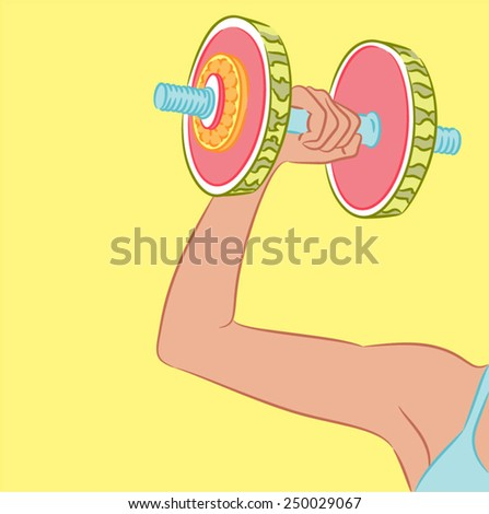 Woman arm holding a dumbbell fruit - stock vector