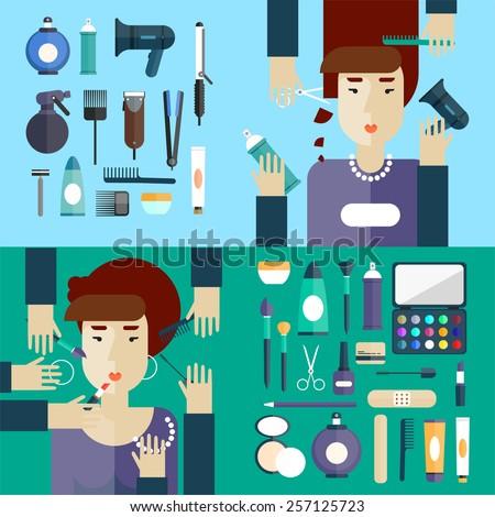 Woman at beauty salon. Haircut. Beauty. Hairdressing. Hair coloring. Makeup. Flat design. 2 Banners. - stock vector