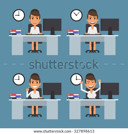 Woman at table in different versions - stock vector