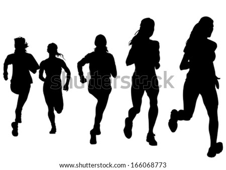 Woman athletes on running race on white background. - stock vector