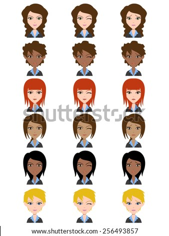 Woman avatar, facial expressions, happy, wink, sad, vector illustration set collection - stock vector