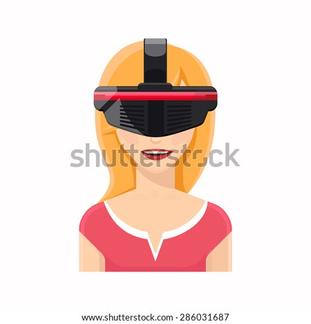 Woman avatar in virtual reality glasses. Technology and equipment, video gaming, cyber innovation, vector illustration - stock vector