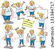 Woman before and after weight loss program. Hand drawn funny cartoon characters, sketch, isolated - stock vector