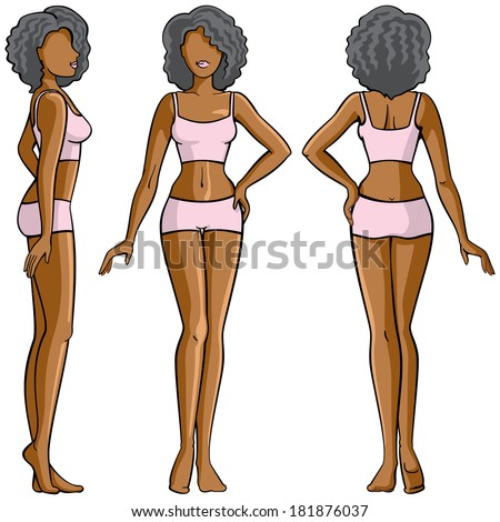 woman body - front, back and side view - stock vector