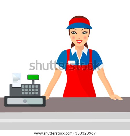 Woman cashier smiles buyer near the cash register. Flat vector illustration - stock vector