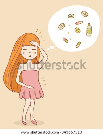 Woman character holds her stomach and head, pain from menstruation or poisoning. Cartoon cute style, vector illustration - stock vector