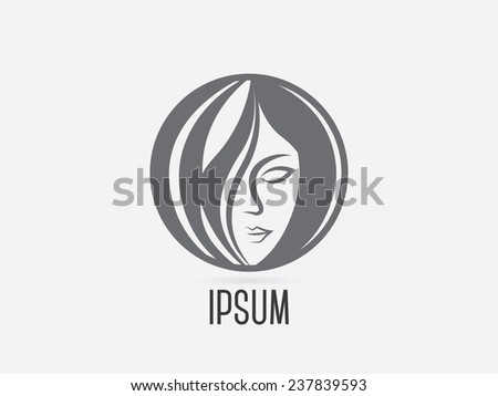 Woman chat vector logo design template. Girl silhouette - cosmetics, beauty, health & spa, fashion themes. - stock vector