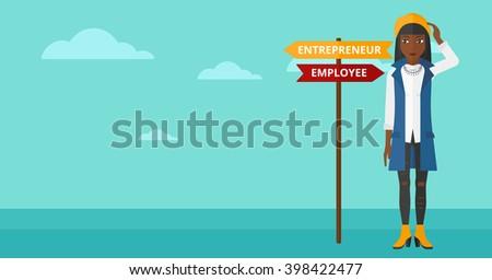 Woman choosing career way. - stock vector