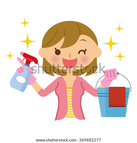 Woman cleaning - stock vector
