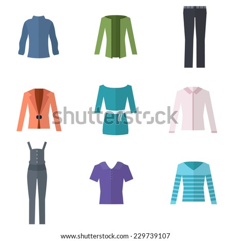 Woman clothes. Flat style vector illustration. - stock vector