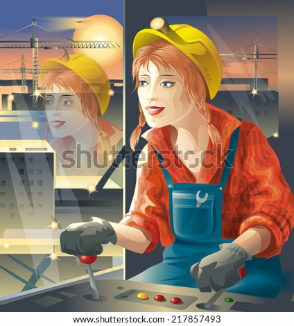 woman construction worker in a yellow construction helmet and red shirt manages construction crane on the background lights of the big building - stock vector