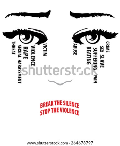 Woman cries, eyes with tears. Break the silence, stop the violence words form her lips. Stop violence against women concept. Vector EPS 10 - stock vector