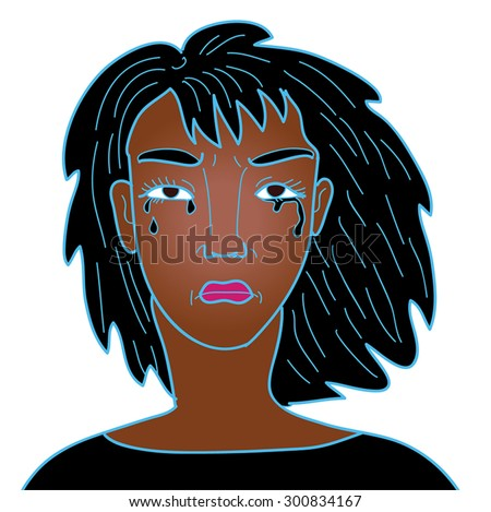 Woman crying. Black tears on a young african woman face. Black silhouette of woman head and shoulder. Grief,sadness,angry.Cartoon character. Vector illustration. Isolated on white. Eps 10. - stock vector