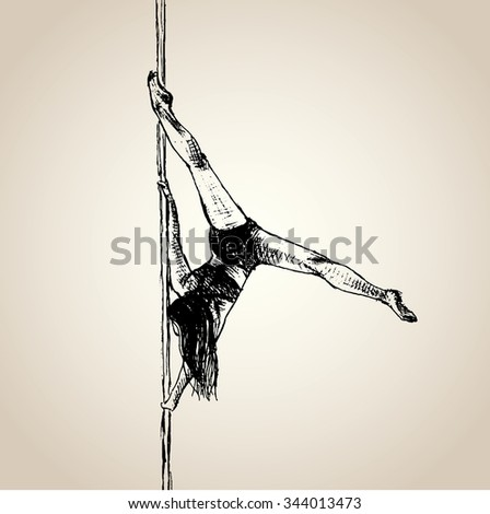Woman dance on the pole - stock vector