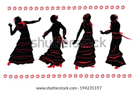 Woman dancing flamenco. Set of black and red silhouettes on white background. - stock vector