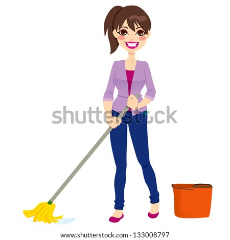 Woman doing chores cleaning the floor with mop and mop bucket - stock vector
