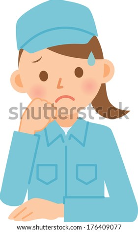 Woman dressed in work clothes - stock vector