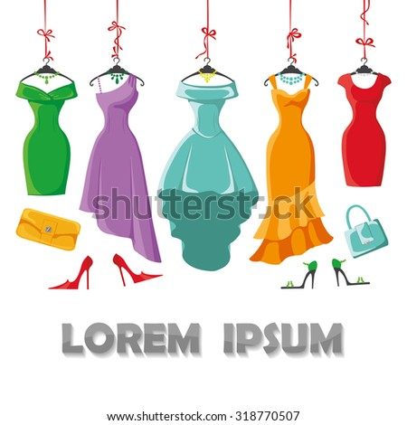 Woman dresses on a hanger and accessories set.Summer party. Short and long elegant bright color design lady dress ,handbags,shoes collection.Vector art image illustration,background,template - stock vector
