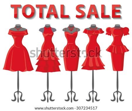 Woman dresses on mannequins set.Summer fashion party. Short skirt elegant red color design lady dress  collection.Vector art image illustration.Total Sale background,template - stock vector