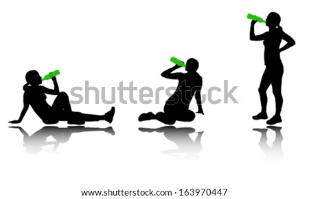 woman drinking water after training silhouettes - stock vector