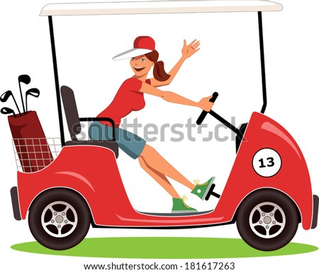 Woman driving a golf cart isolated on white, vector illustration - stock vector