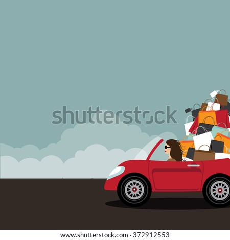 Woman driving convertible overloaded with shopping bags. With copy space. EPS 10 vector. - stock vector